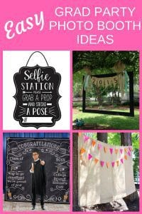 Easy Grad Party Photo Booth Ideas - Find super-simple ways to DIY your own homemade grad party photo booth. Your guests will have a ball with these fun graduation party photo booth props and selfie station ideas. Click for details!