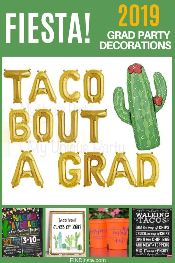 Graduation Party Themes 2019 - What's more festive than a colorful fiesta? Make your son's or daughter's grad party memorable with this festive Mexican fiesta inspired party decorations!  Click for decorating ideas.  #FINDinista #gradparty #graduationparty