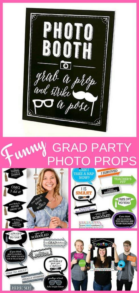 Funny Grad Party Photo Booth Props - Entertain your guests and get fabulous grad party pics with these hilarious graduation themed photo props.