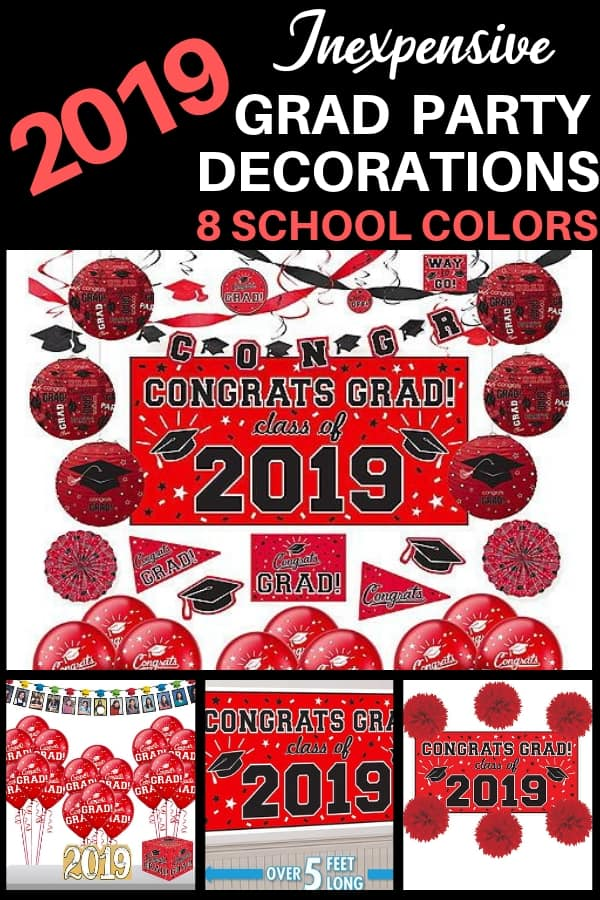 Inexpensive Grad Party Decorations 2019 - Want to throw a dazzling graduation party without spending a fortune?  Check out these festive Congrats Grad decorations that are affordable, easy and look great!  Available in 8 colors.  Click for details.  #FINDinista #graduationparty