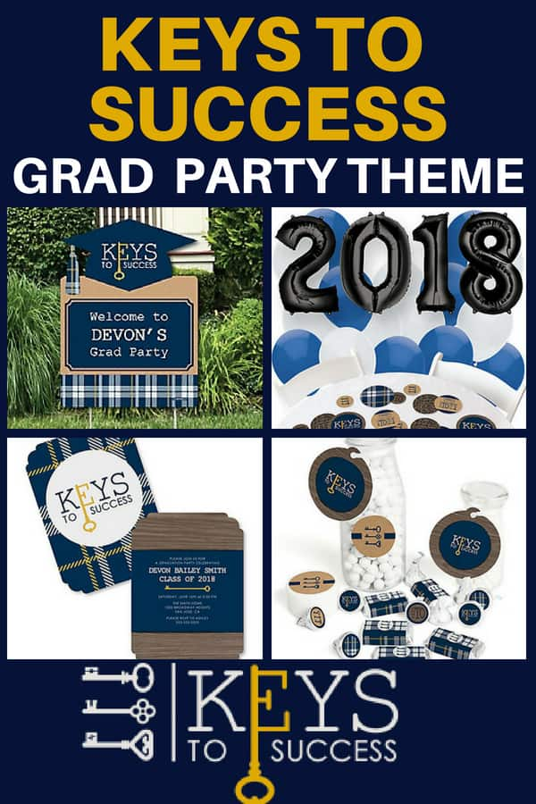 Grad Party Themes for Guys - Masculine navy and gold Keys to Success is a fun and easy theme for your son's graduation party. Click for details and to see more easy DIY graduation party theme ideas.