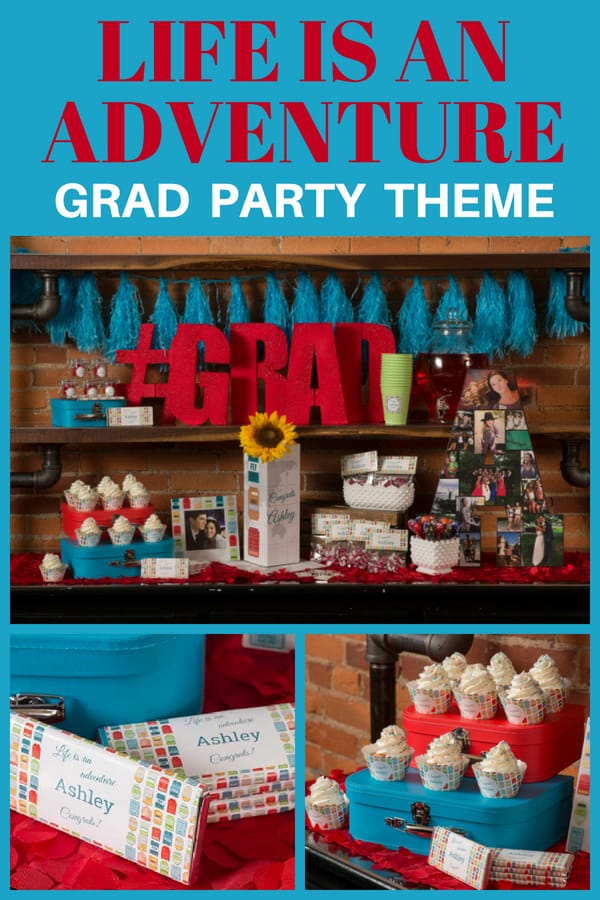 Life is an Adventures Graduation Party theme - colorful grad party supplies are perfect for the son or daughter who has big things waiting for them after graduation. Click for details on how to DIY this party.