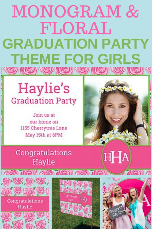 Looking for a super-cute and girly graduation party theme for your daughter? She'll love these darling pink rose and monogrammed themed grad party decorations! Click to see how to create this party at home.