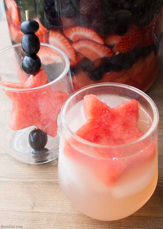 Looking for an easy 4th of July drink recipe for a crowd?  Delight your party guests with this festive red, white and blue summer sangria...click to get the recipe.