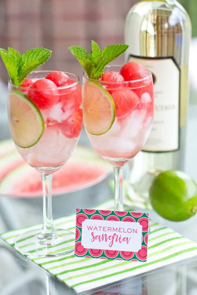Watermelon sangria recipe - easy recipe is the perfect alcoholic drink for those hot summer days and nights!  Click for details.