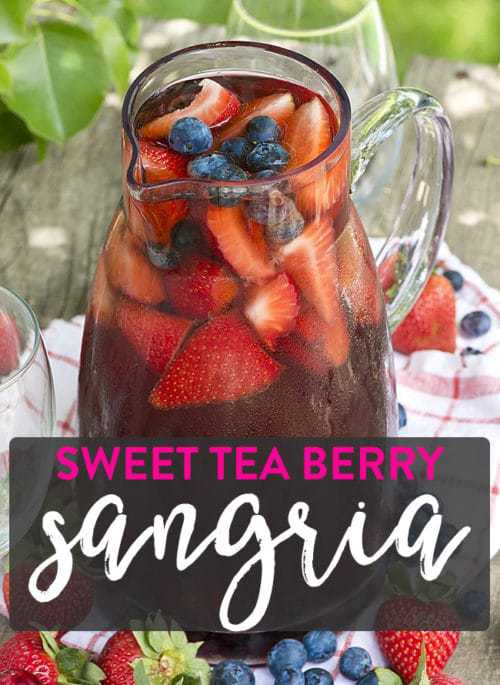 Sweet Tea Berry sangria is the perfect way to enjoy ripe summer berries!  Click to get this easy summertime sangria recipe.
