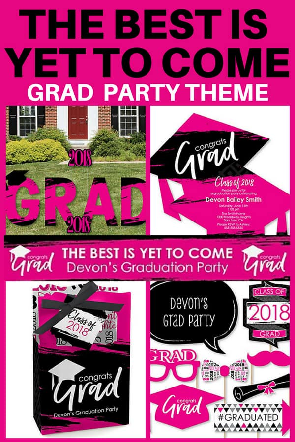 Graduation Party Themes for Daughter - Thrill her with this delightful The Best is Yet to Come grad party decorations in vivid pink and black. Click for details and buying info, and to see more easy DIY grad party themes.