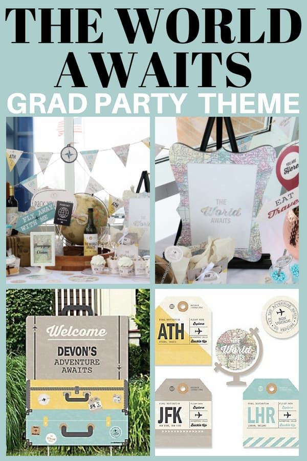 The World Awaits Graduation Party Theme - Is your son or daughter planning a big adventure after they graduate? Then check out these fabulous travel-themed graduation party supplies!