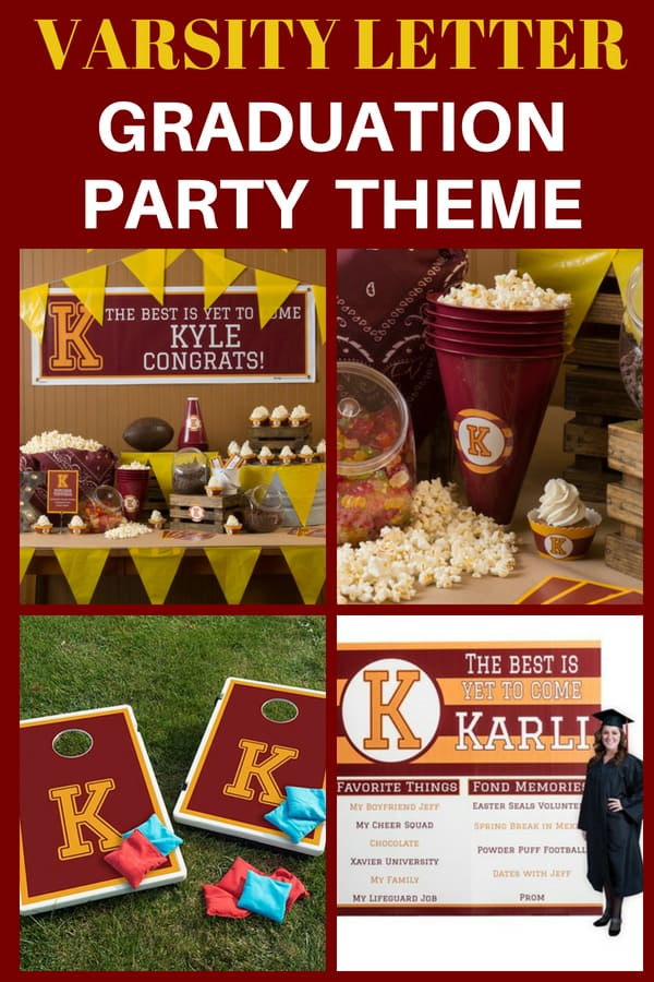 Love this retro-style varsity letter graduation party theme...a fabulous choice for a high school grad party for your favorite athlete! Customize with your son's or daughter's school colors...click for details.
