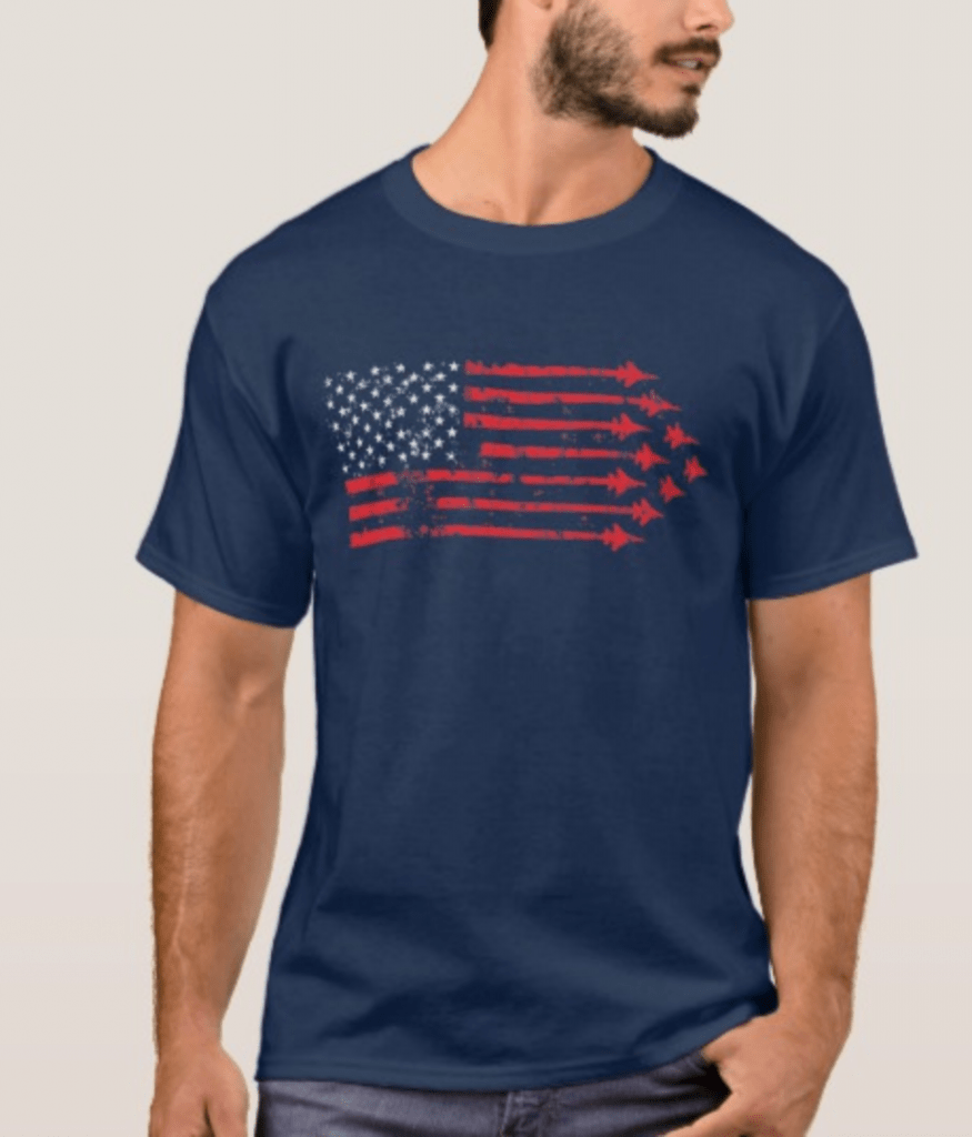 Jet Fighter American Flag Shirt - Great for 4th of July