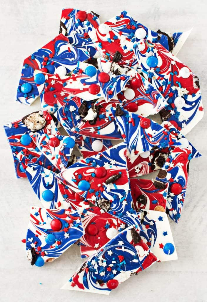 Red White and Blue Bark - Fun Festive 4th of July Dessert
