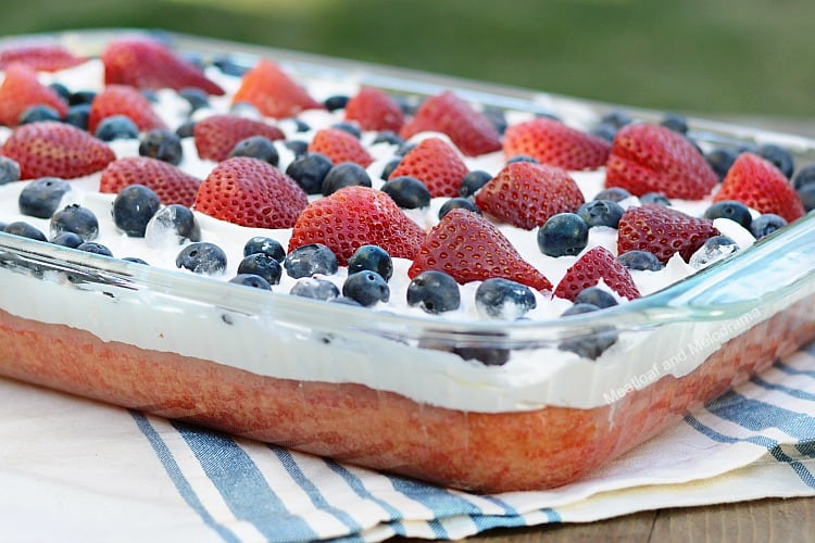 red, white and blue poke cake, a delicious 4th of July dessert