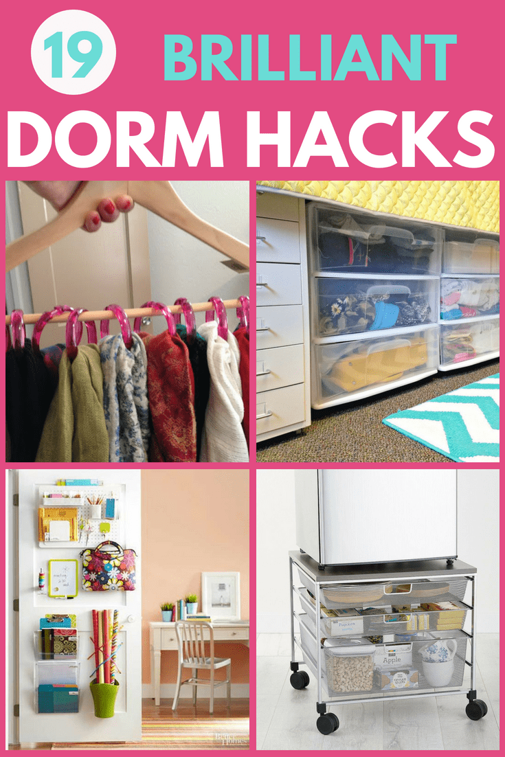 College Dorm Hacks -  Start your freshman year off right with these brilliant dorm room organizing hacks.  Click to find easy ways to organize your college dorm room!  #dorm #dormroom #college #collegelife #hacks #organizing #organization #FINDinista.com