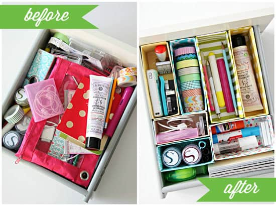 DIY Dorm Desk Drawer Organizer...is your desk drawer a mess? Recycle cereal boxes into adorable - and functional - drawer organizers!