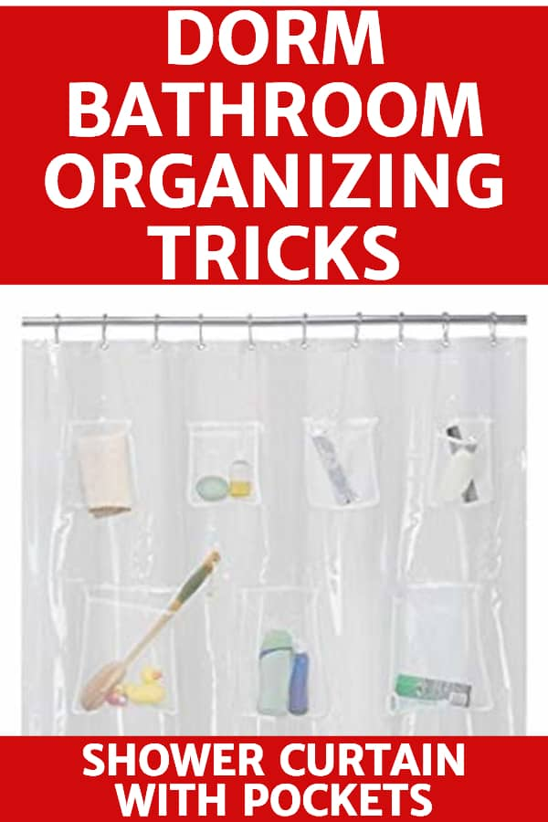 Dorm Bathroom Organizing Tricks - Sharing a suite-style bathroom?  Keep all your shampoos, conditioners, soaps and other shower items organized by using a shower curtain with pockets!  Click to see more great dorm room organization hacks.  #organizing #dorm #dormroom #freshmantips #college #organizing #FINDinista.com