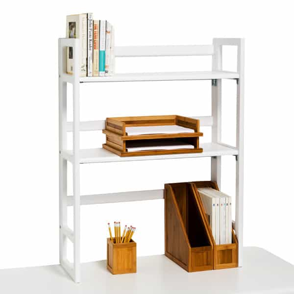 Dorm Desk Organizers - If your dorm room desk doesn't have shelves above it, you'll want these folding wooden shelves from The Container Store. Durable and stylish, they're perfect for adding extra storage space on top of your desk.