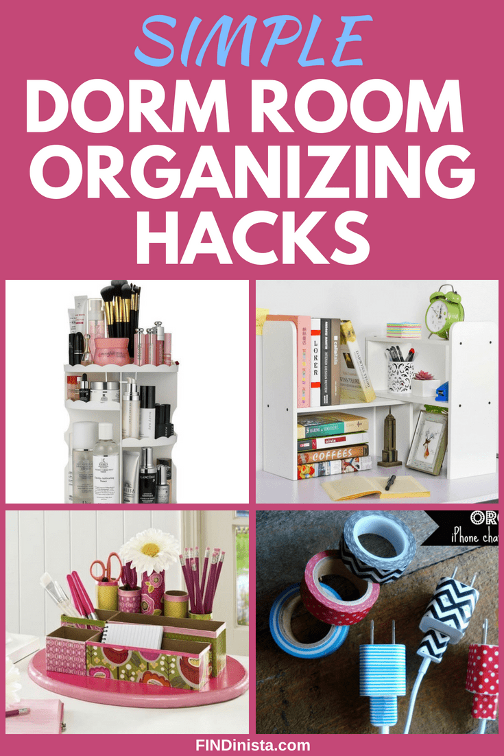 Easy dorm room organizing hacks - Trying to figure out how to keep your dorm room organized?  Click to find 20+ easy hacks to organize your college dorm room!  #organization #dorm #dormroom #college #freshman #freshmantips #organization #FINDinista.com