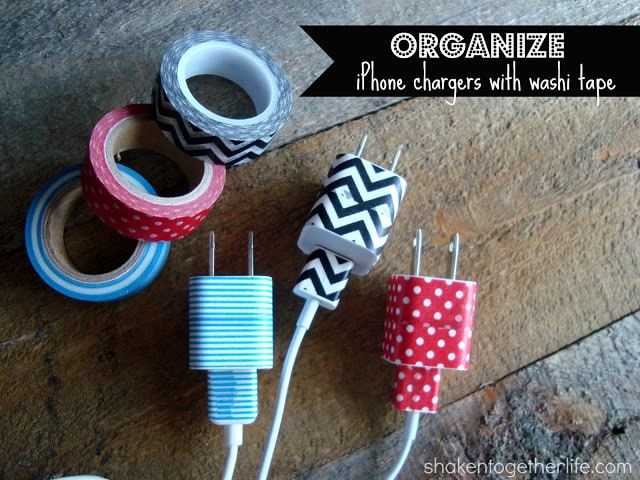 College students always have loads of chargers....phone, laptop, iPad and who knows what else. Prevent mixing up chargers with your roommate's by using colorful Washi tape to identify your chargers.