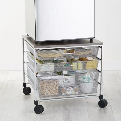 Dorm Room Organizing Tips - Place your refrigerator and microwave on top of this sturdy wheeled cart. You'll have plenty of place to store snacks, utensils and plates in the 3 drawers underneath the cart.