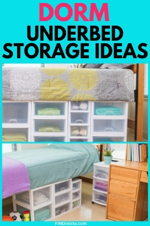 Dorm UnderBed Storage Ideas - Looking for clever ways to keep your small dorm room organized? Use stacking storage drawers for under bed storage in your dorm room! Click for buying details. #FINDinista #dormroom #dormorganization