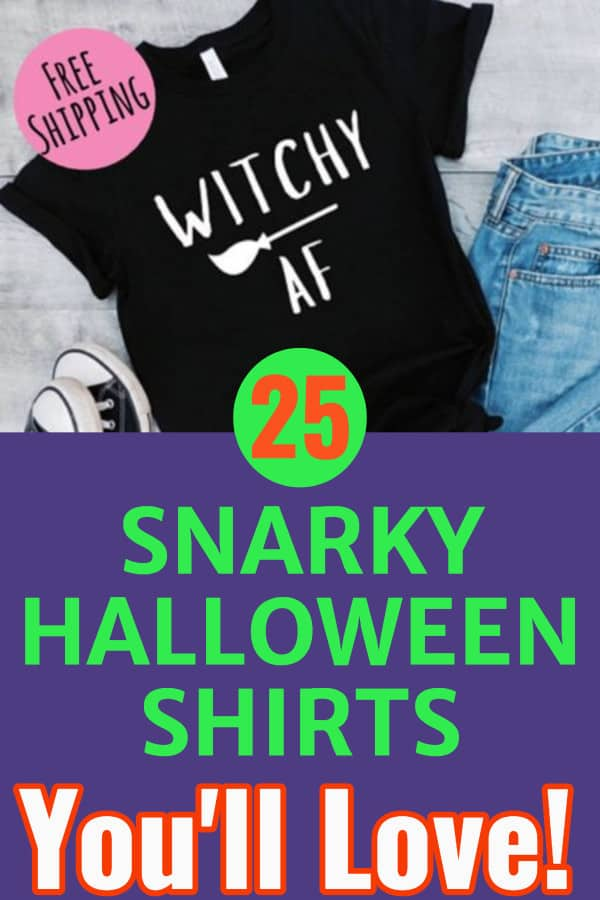 Halloween Shirts for Women - Click to see 25 funny Halloween tops that you'll want to wear all season long!  Find the perfect Halloween shirt for a party, trick-or-treating or just to show your Halloween spirit!  #FINDinista.com #halloween #halloweencostumes #fashion #shirts #outfits #outfitideas #falloutfits #tshirt #womensfashion #funny #clothing #clothes #autumn #autumnfashion