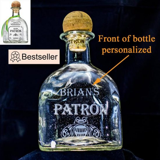 Unique Tequila Lover gift ideas - Delight your favorite tequila fan with this striking personalized tequila decanter!  Crafted from a genuine Patron bottle. the decanter is then engraved with their name.  You can add an optional message to the back.  Click to see the best gifts for tequila lovers!  #tequila #gifts #FINDinista