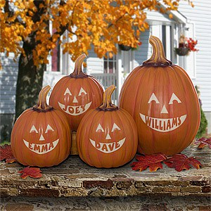 Personalized Jack O Lantern Pumpkins - Cute Outdoor Halloween Decoration Ideas