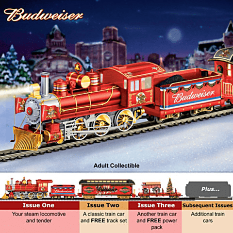 Looking for a unique Christmas gift for the beer lover that has everything?  Surprise him with the Budweiser Christmas train set!
