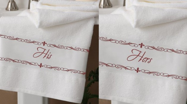 Elegant his and hers towels are a wonderful wedding or anniversary gift for any couple!