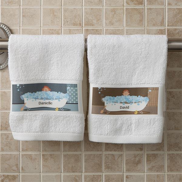 His and Hers Towels - Looking for a fun gift for your favorite couple?  Adorable his and hers personalized hand towels are wonderful gifts for an anniversary, wedding or shower!
