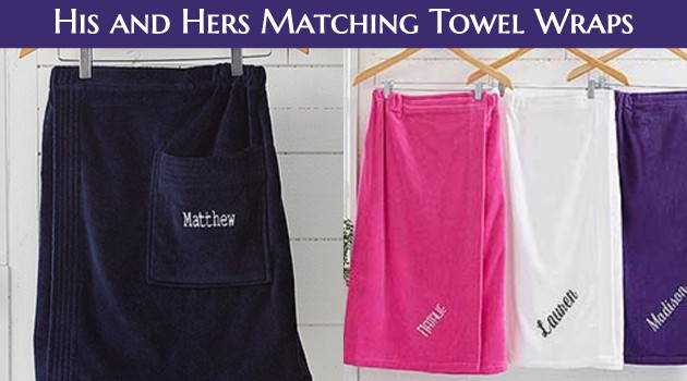 His and Hers Towel Wraps - Looking for a unique wedding, shower or anniversary gift for a couple?  Impress them with these fun matching towel wraps.