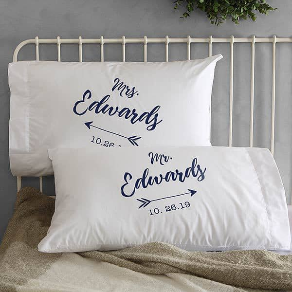 Mr and Mrs Pillowcase with Dates and Stylish Arrow Design - Great Wedding or Engagement Gift