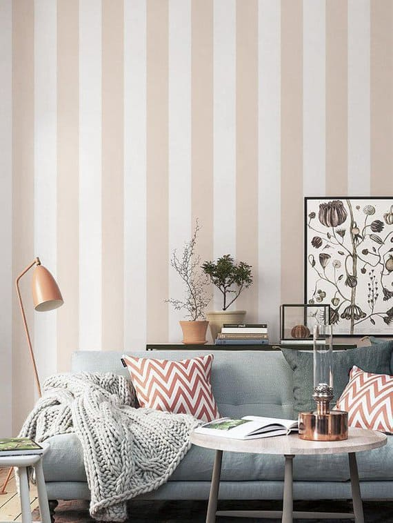 Small Living Room Decorating Tips & Ideas - Use vertically striped wallpaper to give the illusion of height and openness. This self-adhesive wallpaper is so easy to install! Click for details.