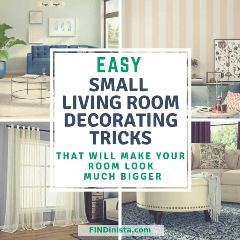 Easy Small Living Room Decorating Tricks - Make your small living room feel much bigger and brighter!  Click for 19 easy & affordable decorating ideas for small living rooms!  #FINDinista.com #home #homedesign #decorideas #homedecor #livingrom #livingroomideas #livingroomdecor #smallhome #furniture #interiordesign #livingroomideas