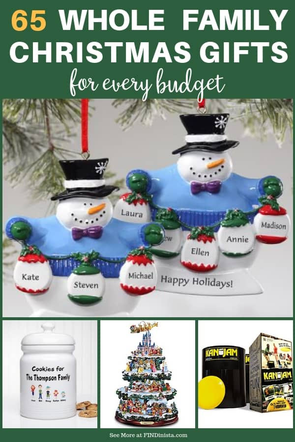 Looking for fabulous whole family Christmas gifts? Find one Christmas gift everyone in the family will like - without blowing your budget! Prices start at under $10...click to see 65 thoughtful and fun gifts!