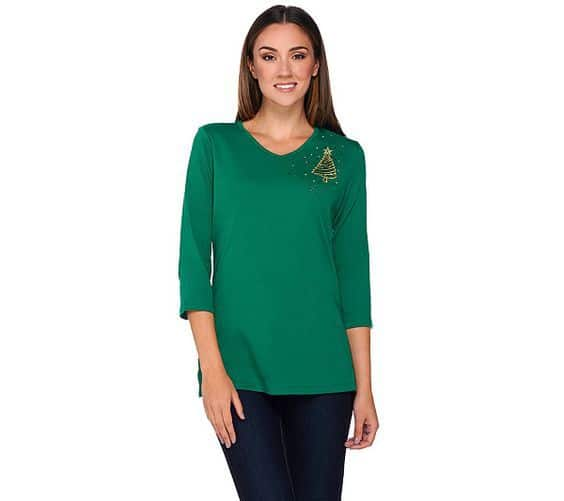 Rhinestone Christmas top for women - Looking for an understated but festive holiday outfit? Cheerful top features a rhinestoned brooch in one corner...adds just the right amount of bling!