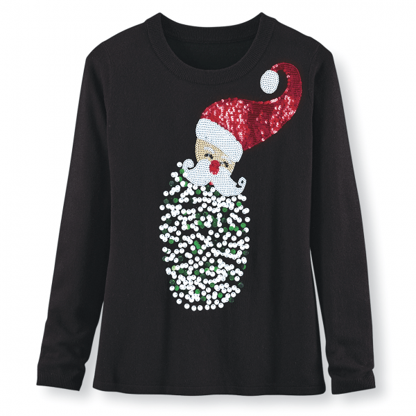 Cheerful sparkly Santa sweater adds a whimsical touch to your holiday wardrobe.