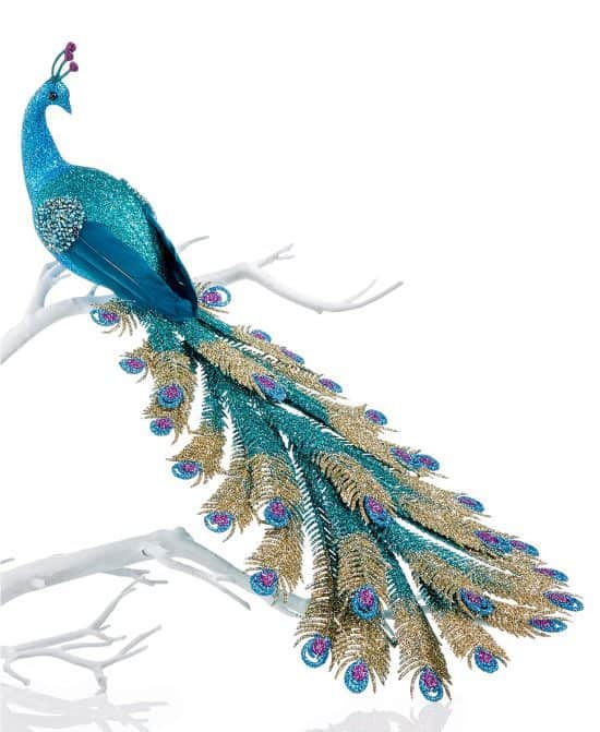 Glittery Peacock Christmas Tree Ornament - Vibrant peacock Christmas tree ornament will definitely stand out on any Christmas tree!