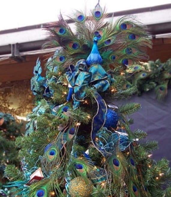 Peacock Christmas Tree Topper - Your tree is sure to be noticed when it's topped with this stunning tree topper!