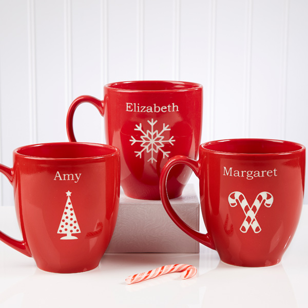 Personalized Holiday Cheer Bistro Mugs