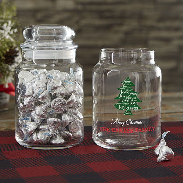Personalized Christmas Tree Candy Jar