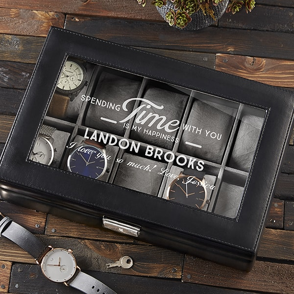 Personalized Watch Box - Give your husband the gift of organization - while letting him know how much you love him! Striking leather watch box can be engraved with your own loving message to him, along with his name or initials.