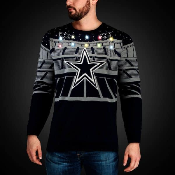 Favorite Sports Team Light Up Ugly Sweater - Your favorite guy can show his pride in his favorite team - and his Christmas spirit - all at once with a fun light up ugly Christmas sweater.  #giftsforhim #FINDinista.com