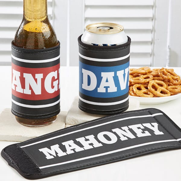 Personalized beer koozie - Looking for an inexpensive gift for a beer lover?  Keep his or her beer ice-cold  with a personalized velcro wrap that adjust for both bottles and cans.