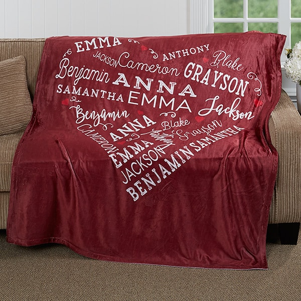 Last minute gifts for her - Soft and cozy blanket is sure to become her all-time favorite gift!  Quickly create a sentimental gift that she'll treasure by adding up to 21 names or meaningful words (or both) that will be featured in a heart-shaped pattern.