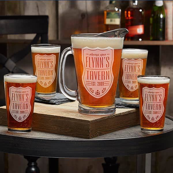Looking for a great Christmas gift for a beer-loving man?  Impress him with a personalized barware!  Choose from a pitcher, individual glasses, or order a complete set.  A great addition to his man-cave that he can enjoy for years to come!  #giftsforhim #FINDinista.com