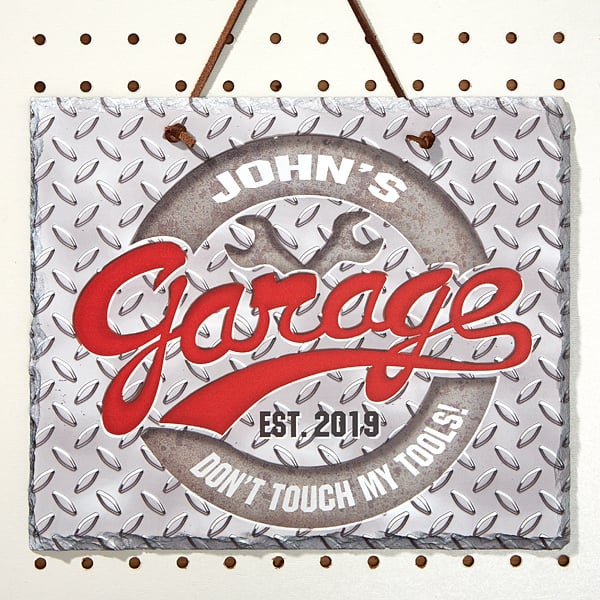 Personalized Garage Sign - Deck his garage out in style with a personalized garage sign. Choose from over 20 styles. Fabulous Christmas or birthday gift for your husband, boyfriend, Dad or son....any man who loves hanging out in his garage!