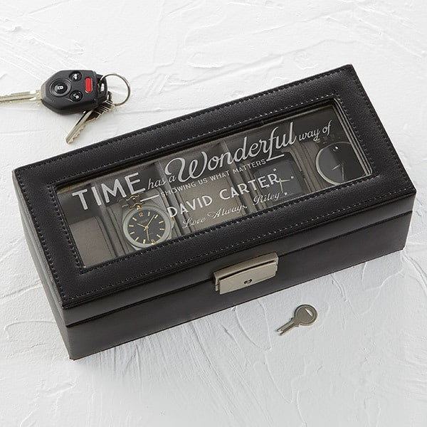Personalized Valentine's Day gifts for men - Give your husband or boyfriend the gift of love - and organization - this Valentine's Day!  Striking leather watch box features your choice of sentimental quotes, as well as his name and a personalized message.  A Valentine's Day gift that he will enjoy using for years to come.  #FINDinista.com #valentinesday
