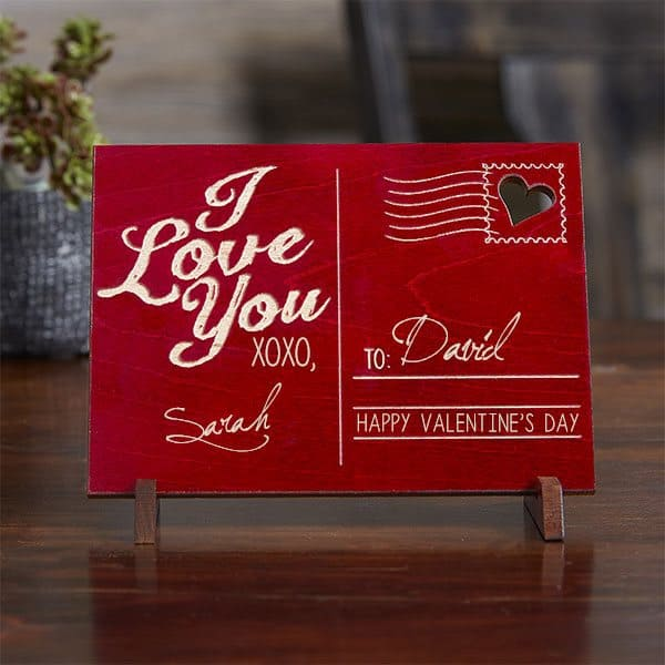 Looking for a unique Valentine's Day gift for your husband or boyfriend?  Send him a long-lasting message of love with this handsome wooden postcard!  #FINDinista.com #valentinesday