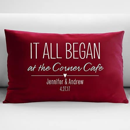 Sentimental Valentine's Day gifts for him - Remind your husband or boyfriend of where your relationship started!  Sentimental personalized pillow celebrates the start of your relationship.  Click to see additional color choices.  #FINDinista.com #valentinesgiftforhim
